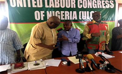*MEETING: From left, Didi Adodo, General Secretary, Joe Ajaero, President and Achese Igwe, Deputy President, all of Uunited Labour Congress of Nigeria, ULC, at its CWC meeting in Lagos.