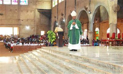 Catholic Bishop of Nsukka Diocese, Most Rev. Godfrey Igwebuike Onah giving sermon during the event