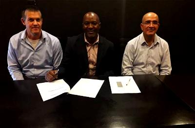 Leehu Hacohen, Group CEO, Galooli Power; Wole Abu, CEO Pan African Towers; and Nissim Moshe, CEO Galooli Nigeria