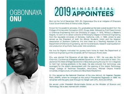 Onu, minister, Buhari