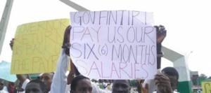 "Adamawa civil servants with ""Gov Fintiri Pay Our Six Months Salaries"""