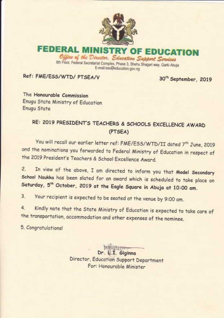 Model secondary school Nsukka emerges FG's 2019 educational award winner