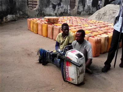 Lagos : NSCDC parades two siblings, impounds 120 gallons of suspected petroleum product