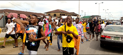Protesters during the #ENDSARS protest in Ughelli