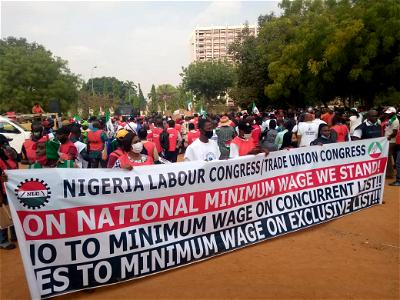 HAPPENING NOW: NLC minimum wage protests in Abuja, Lagos