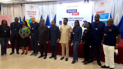 Deputy governor of Cross River flanked by Chairman BSG of MAN,Mr Jordi Borrut Bel during the relauch of The SMASHED project in Calabar on Tuesday