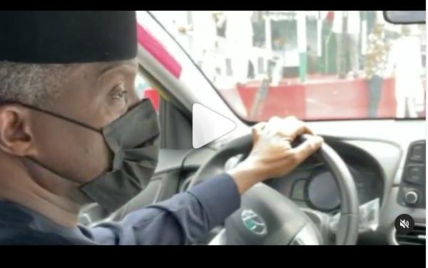 VIDEO: Osinbajo test drives Nigeria's first electric car