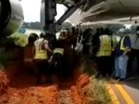 Airplane stuck in mud, Lagos airport