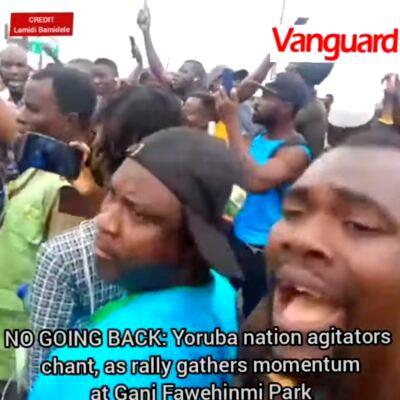 NO GOING BACK: Yoruba nation agitators chant, as rally gathers momentum at Gani Fawehinmi Park