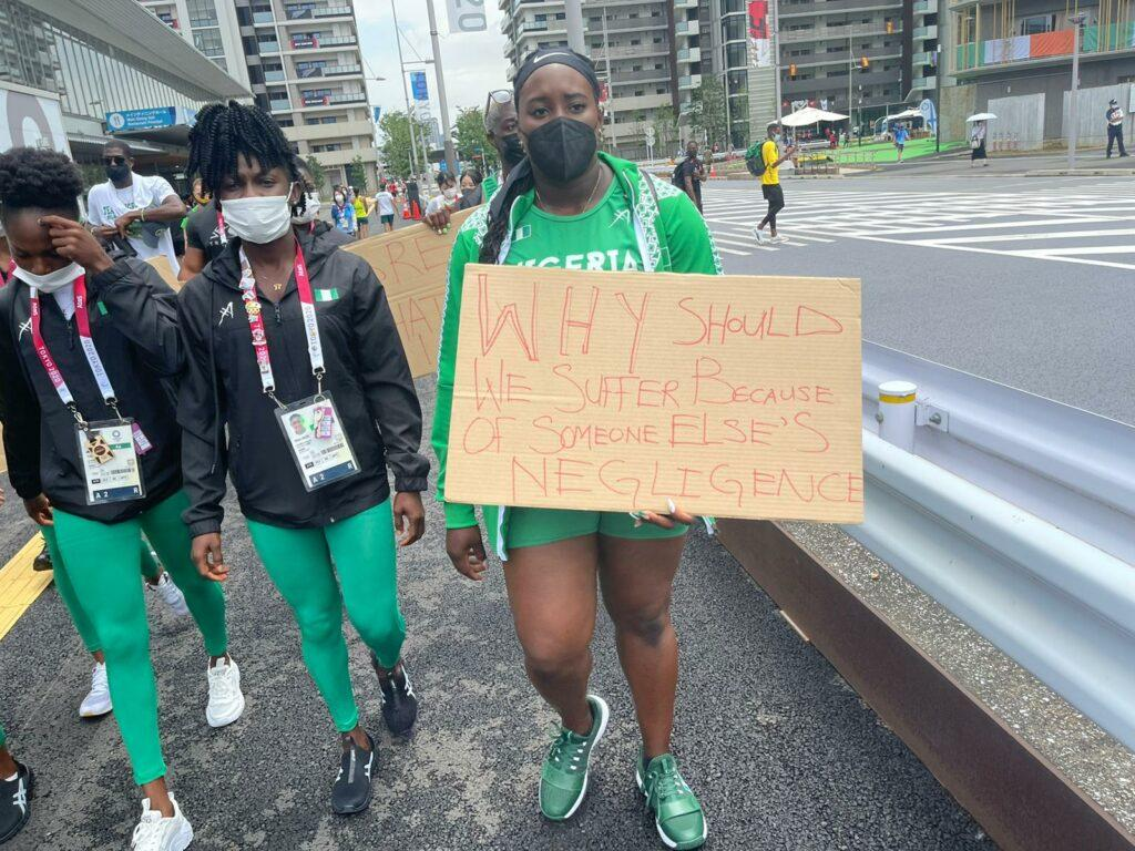 OLYMPIC SHAME: Nigerian athletes  protest in Tokyo