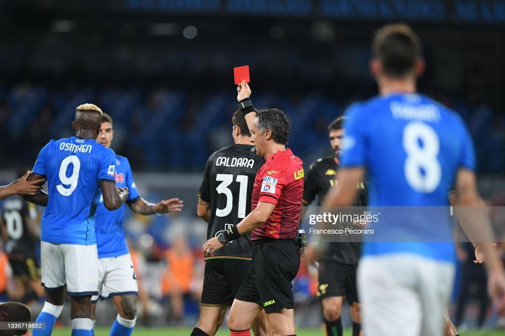 Osimhen sees red, as Napoli ease to 2-0 win over Ebuehi's Venezia