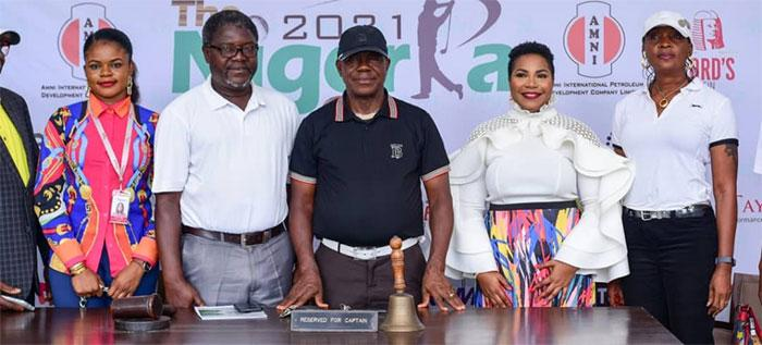 From left—Alice Ben of Birview, Wahab Aminu-Sarumi, Chairman, Ikoyi Golf community Nigeria Association (IGCNA), Meckson Innocent Okoro, Golf Captain, Idia Okundaye GM, HR, Grand Oaks Limited and Ronke Iyiola, Co-Vice Chairman, 2021 Nigeria Cup Organising Committee at the briefing to announce the tee-off of the tournament.